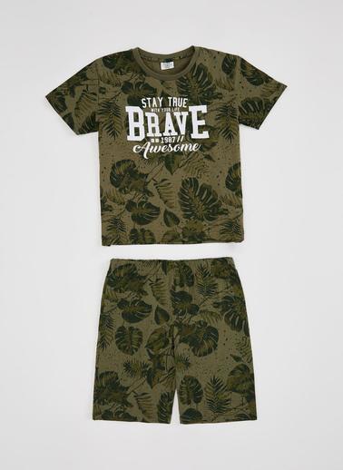 DeFacto Erkek Çocuk Yaprak Desenki Tişört ve Şort Takım Haki